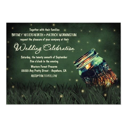 Mason Jar Rustic Firefly Wedding Invitations