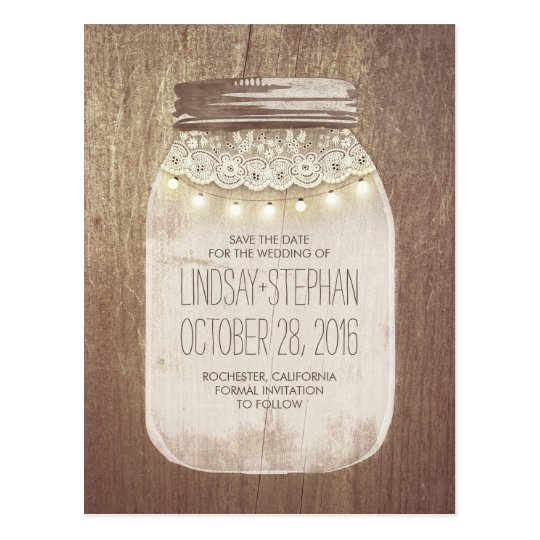 Mason Jar Rustic Lace & Lights Save The