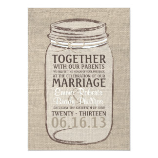 Mason Jar Rustic Wedding Invitation - White Beige