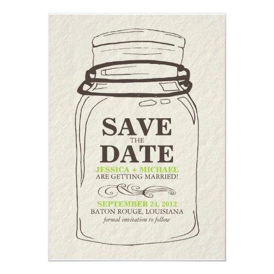 Mason Jar Save the Date Card