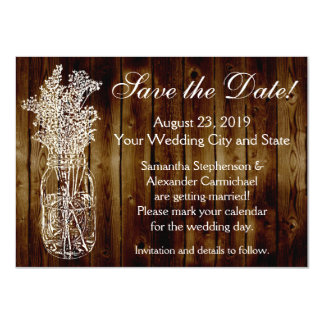 Mason Jar Stamp Dark Wood-look Save the Date Card