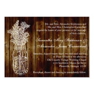 "Mason Jar Stamp/Dark Wood Plank Wedding Invitation 5"" X 7"" Invitation Card"