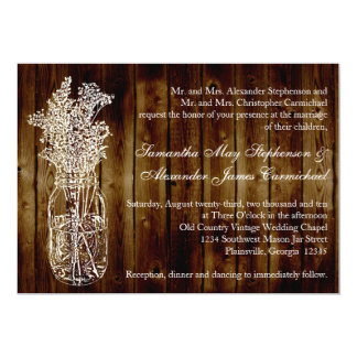 Mason Jar Stamp/Dark Wood Plank Wedding Invitation