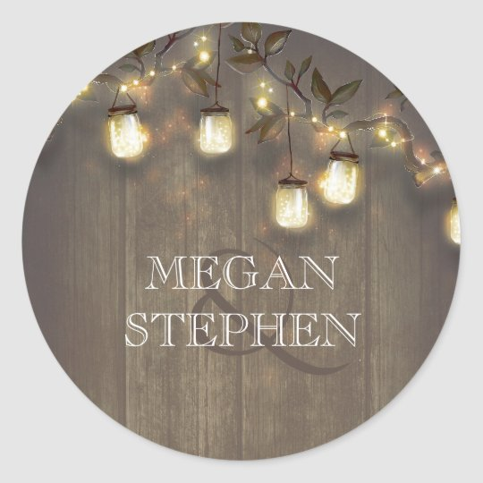 Mason Jar String Lights and Rustic Tree Branches