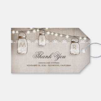 Mason Jar String Lights Burlap Wedding Gift Tags
