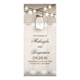 Mason Jar String Lights Burlap Wedding Programs Rack Card