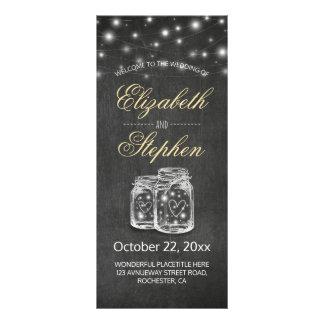 Mason Jar String Lights Chalkboard Wedding Program Rack Card Design