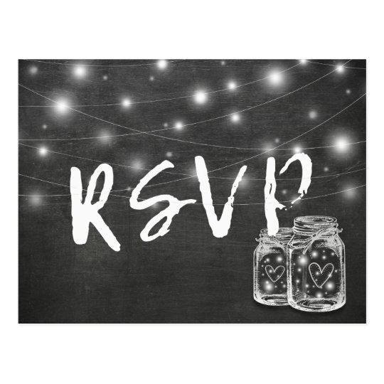 Mason Jar & String Lights Chalkboard Wedding RSVP