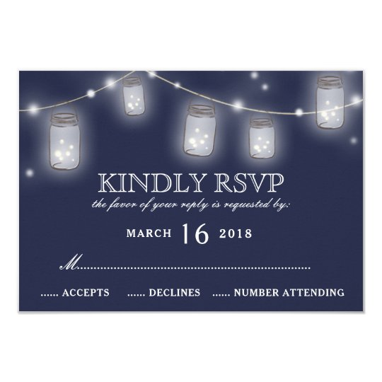 Mason Jar String Lights Navy Blue Wedding RSVP