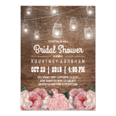 Mason Jar String Lights Pink Rose Bridal Shower