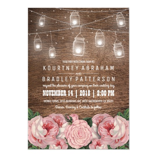 Mason Jar String Lights Pink Rose Wedding |