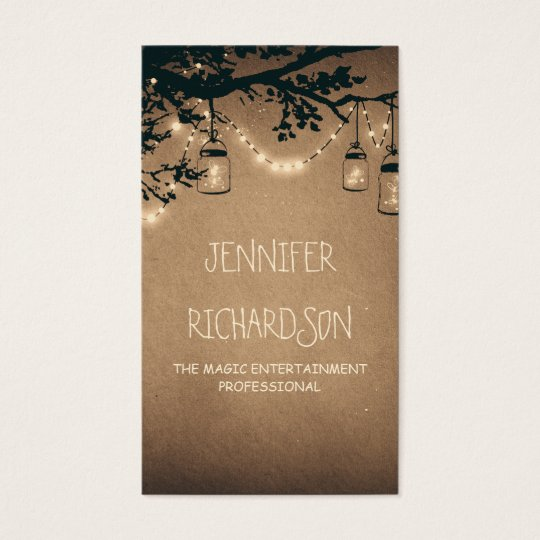 Mason Jar String Lights Rustic Business Card