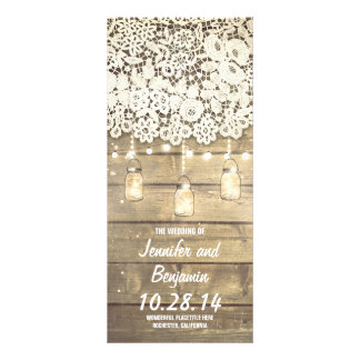 Mason Jar String Lights Rustic Wedding Programs Rack Card Design
