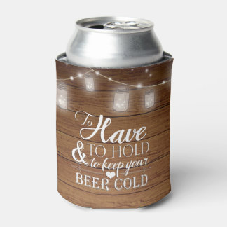 Mason Jar String Lights Rustic Wood Wedding Can Cooler