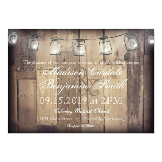 Mason Jar String Lights Rustic Wood Wedding Invite