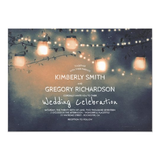 Mason Jar String Lights Starry Night Wedding Card