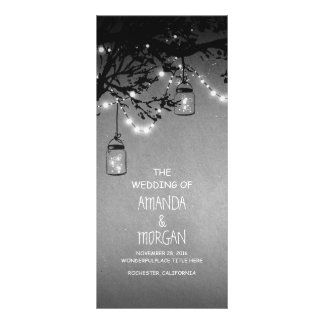 Mason Jar String Lights Tree Wedding Programs Personalized Rack Card