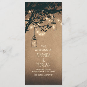 Mason Jar String Lights Tree Wedding Programs Programme