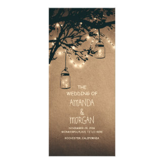 Mason Jar String Lights Tree Wedding Programs Rack Cards