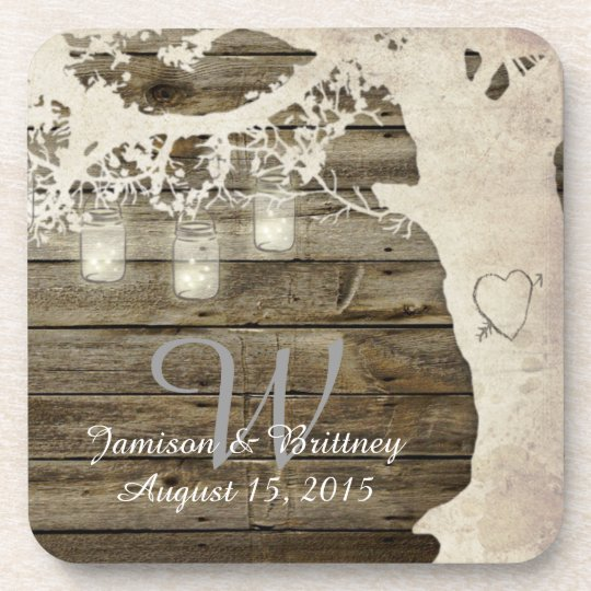 Mason Jar String Lights Vintage Tree Coasters