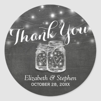 Mason Jar & String Lights Wedding Favor Thank You Classic Round Sticker