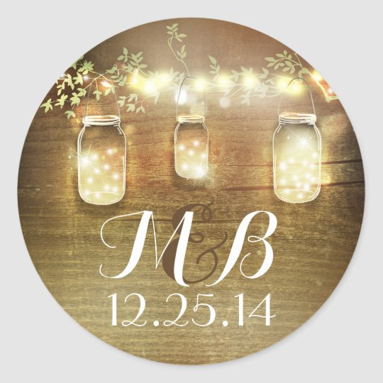 Zazzle String Lights : mason jar string lights wedding stickers Zazzle