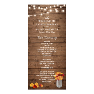Mason Jar String Lights Wood Fall Wedding Program Rack Card Template