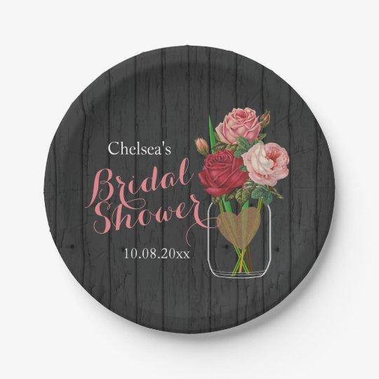 Mason Jar Stylish Rose Bridal Shower Design Paper