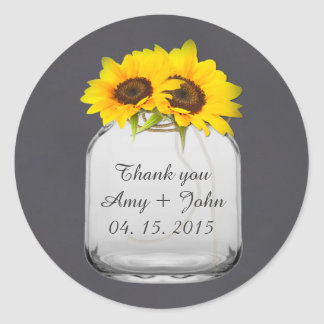 Mason jar sunflower wedding tags sunflwr7