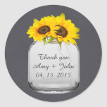 Mason jar sunflower wedding tags sunflwr7 round sticker