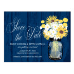 Mason Jar Sunflowers and Daisies Save the Date