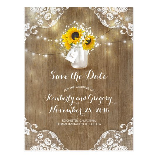 Mason Jar Sunflowers Bouquet Rustic Save the Date