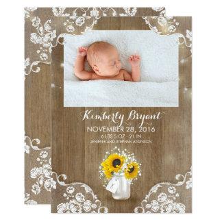Mason Jar Sunflowers Rustic Baby Birth Photo Card