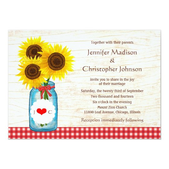 Mason Jar & Sunflowers Rustic Country Wedding Card
