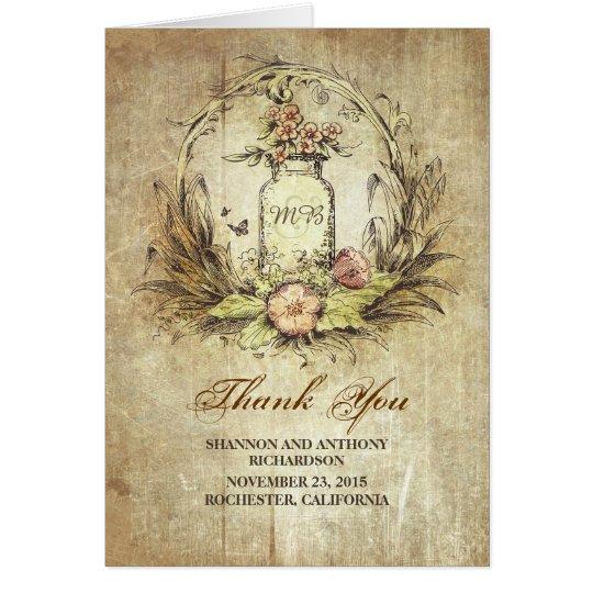 mason jar vintage rustic wedding thank you card