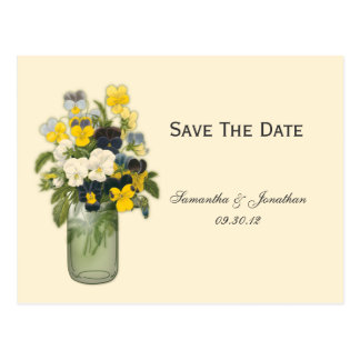 Mason Jar Violas Pansies Save The Date Postcard