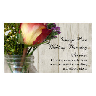 Mason Jar w/Rose and Wildflowers Business Card Template