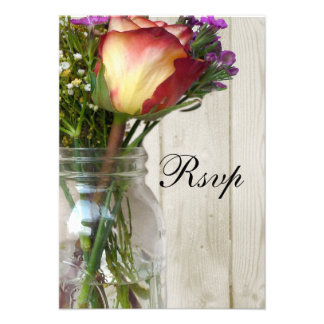Mason Jar w Rose and Wildflowers Announcements