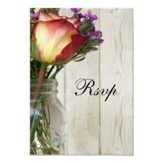 Mason Jar w/Rose and Wildflowers Personalized Invite