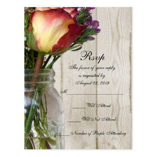 Mason Jar w/Rose and Wildflowers Post Card
