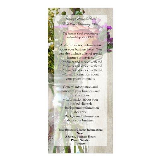 Mason Jar w/Rose and Wildflowers Customized Rack Card