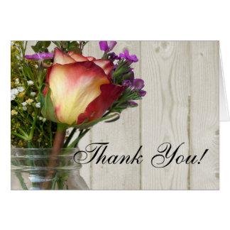 Mason Jar w Rose and Wildflowers Thank You Card