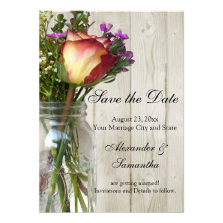 Mason Jar w Rose Wildflowers Save the Date Personalized Invite