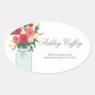 Mason Jar Wedding Invitation – Pastel Floral White Oval Sticker