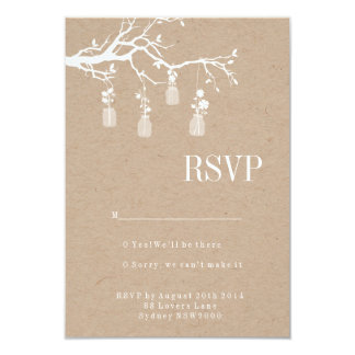 Mason Jar Wedding RSVP 9 Cm X 13 Cm Invitation Card