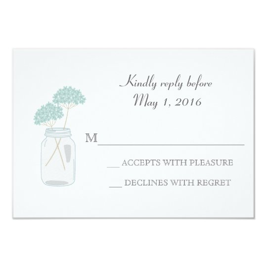 Mason Jar Wedding RSVP Rustic Barn Card
