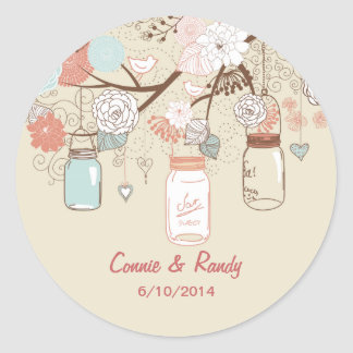 Mason Jar Wedding Sticker Blue Rust Country