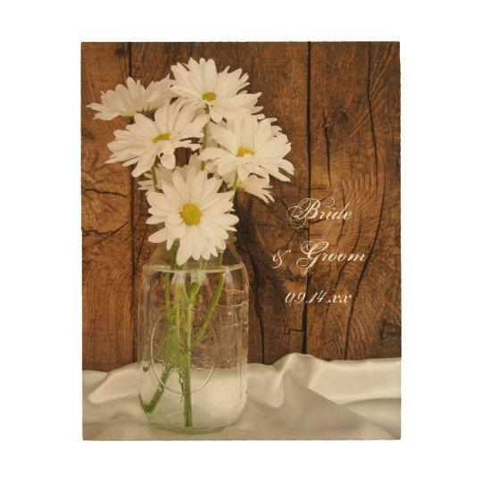 Mason Jar White Daisies Country Wedding Keepsake Wood
