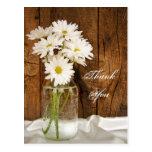 Mason Jar White Daisies Country Wedding Thank You
