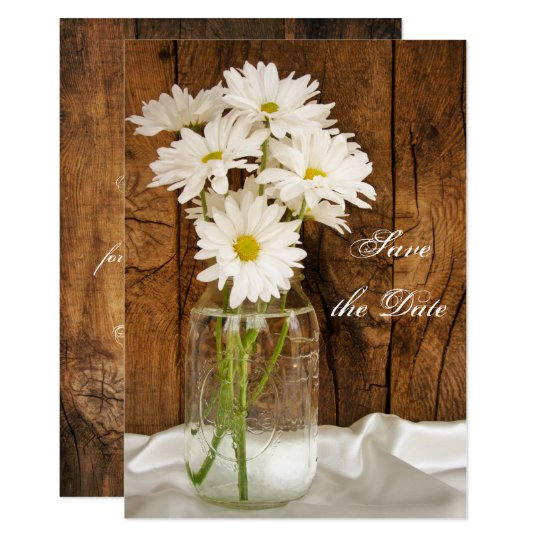 Mason Jar White Daisies Sweet 16 Save the Date Card